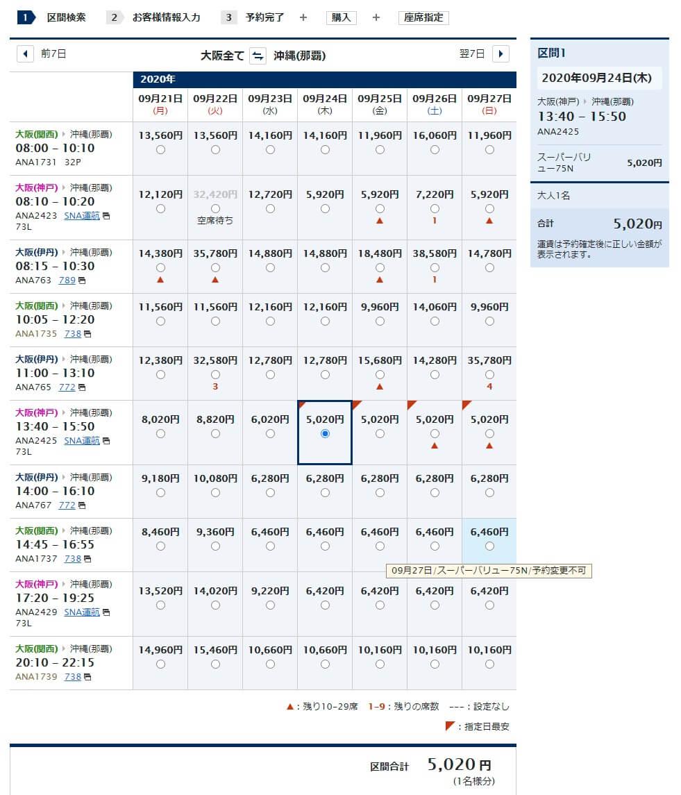 神戸→那覇 ¥5,020